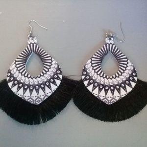 Black and white wood and tassel earrings